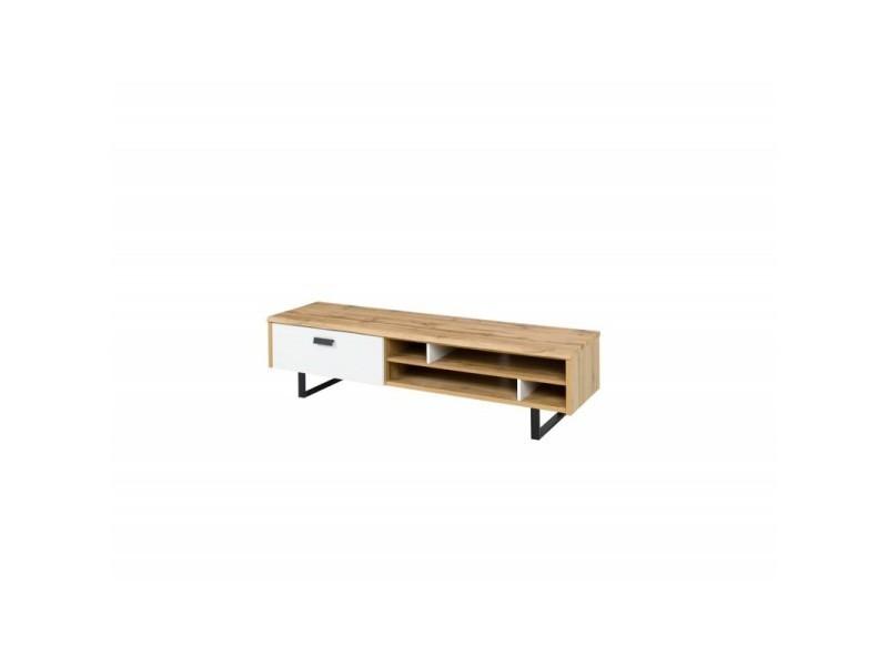 Meuble tv design oak grand modèle. Idéal pour votre salon. Look moderne et tendance type industriel, bois et métal.