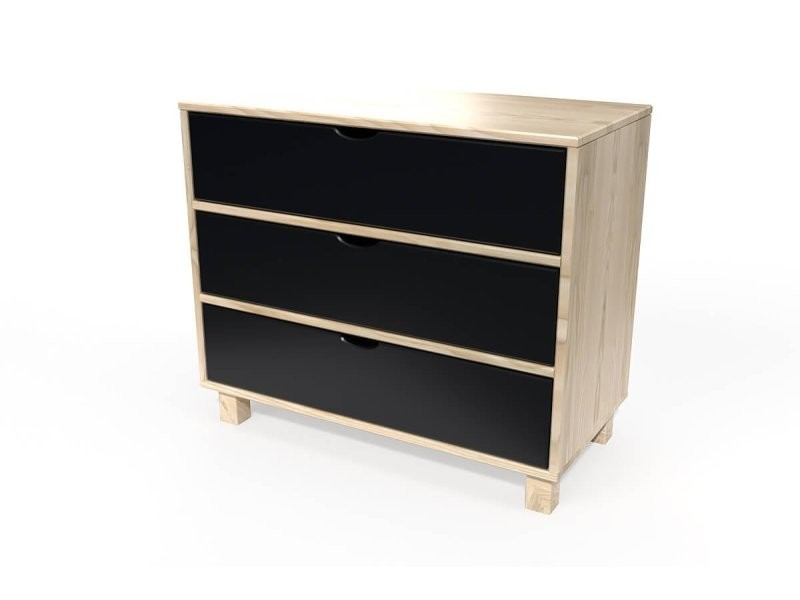 Commode bois 3 tiroirs cube vernis naturel/noir COMCUB-VN