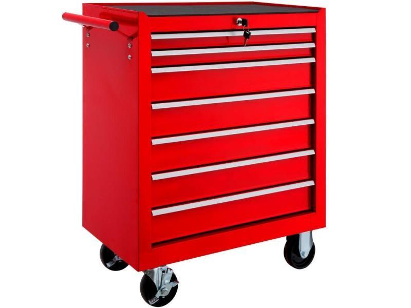 Servante d'atelier 7 tiroirs rouge helloshop26 3408115