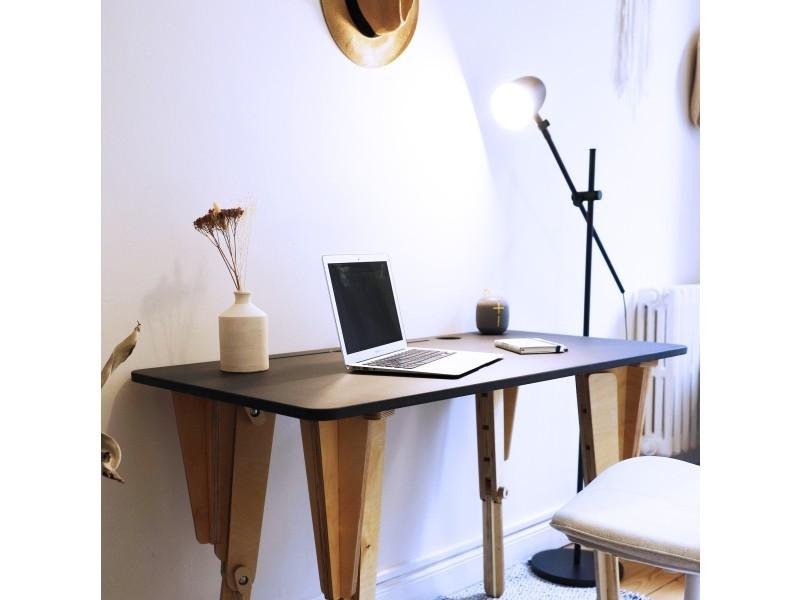 Bureau modulable noir assis-debout l120 cm