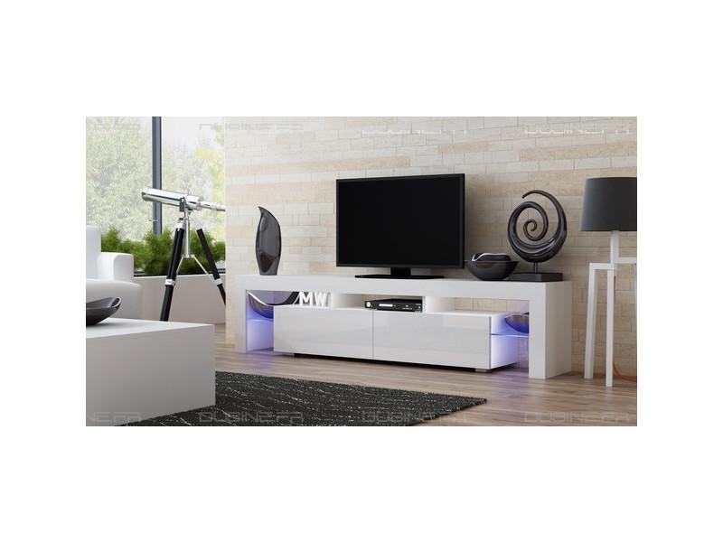 Meuble tv spider big à led en blanc mat avec portes blanc laqué 200 cm