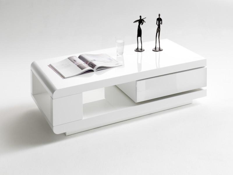 Table basse pivotant coloris blanc laqué brillant - l120 x h36 x p60 cm -pegane-
