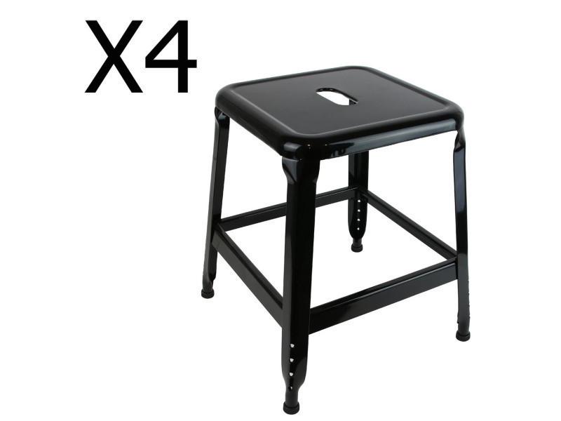 Lot de 4 tabourets en métal coloris noir - dim : h 42.5 x l 37 x p 37 cm - pegane -