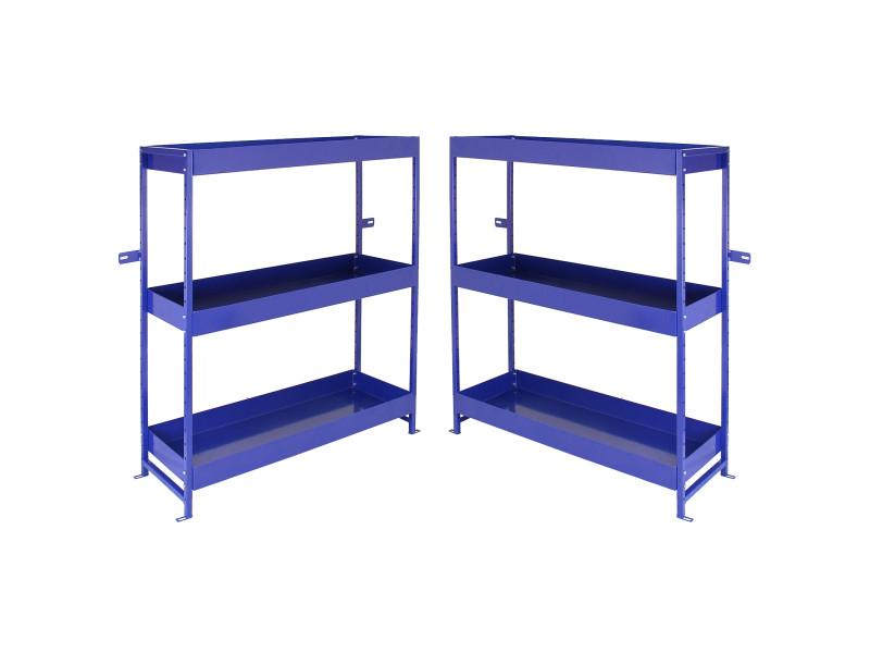 2 rayonnages bleu « lightning » à etagères métalliques
