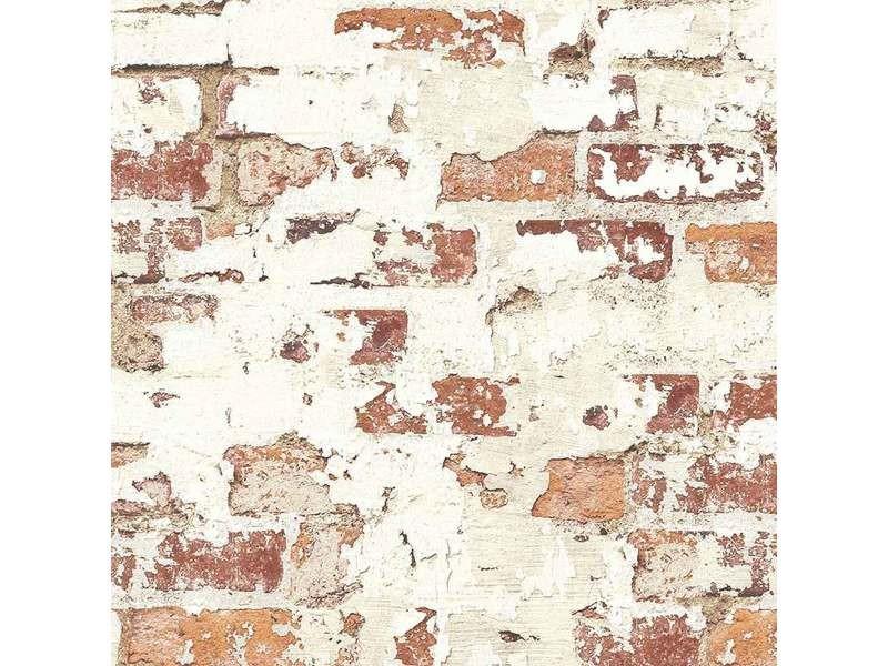 Papier peint lutece vieux mur de briques rouges 8.2 m x 0.68 m