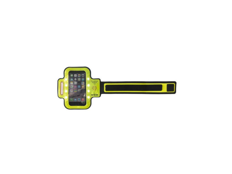 Wowow brassards réfléchissants avec poche smartphone armband 3.0 - 8 leds blanches - jaune