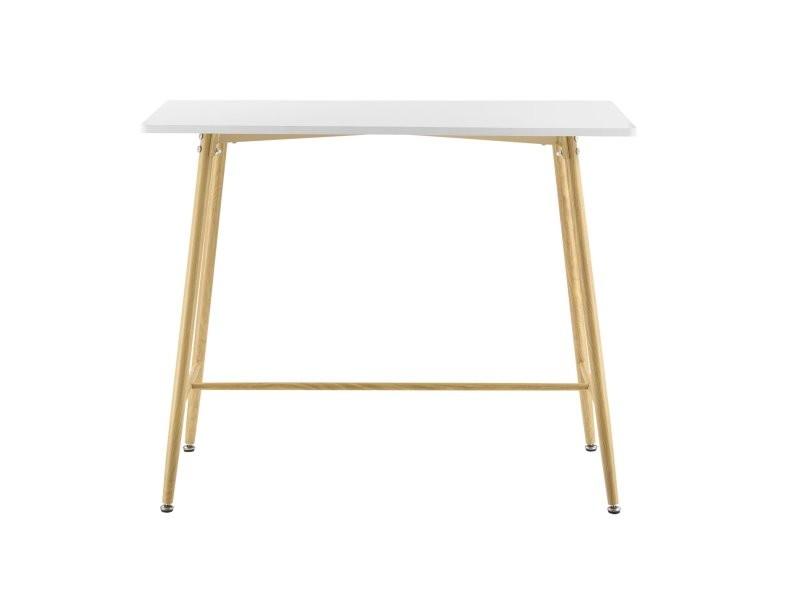 Table de bar rectangulaire plateau en mdf pieds en métal effet bois 110 cm blanc helloshop26 03_0006210