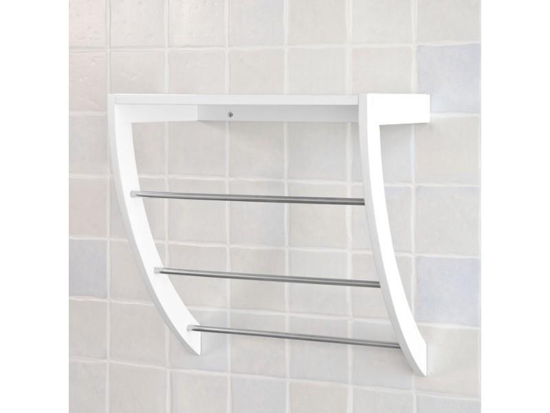 Porte serviettes mural avec 1 tablette et 3 barres frg47 w - Porte serviette salle de bain mural ...
