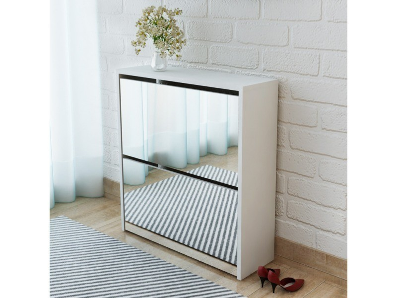 Icaverne - etagères et casiers à chaussures selection meuble à chaussures 2 étages avec miroir 63 x 17 x 67 cm blanc
