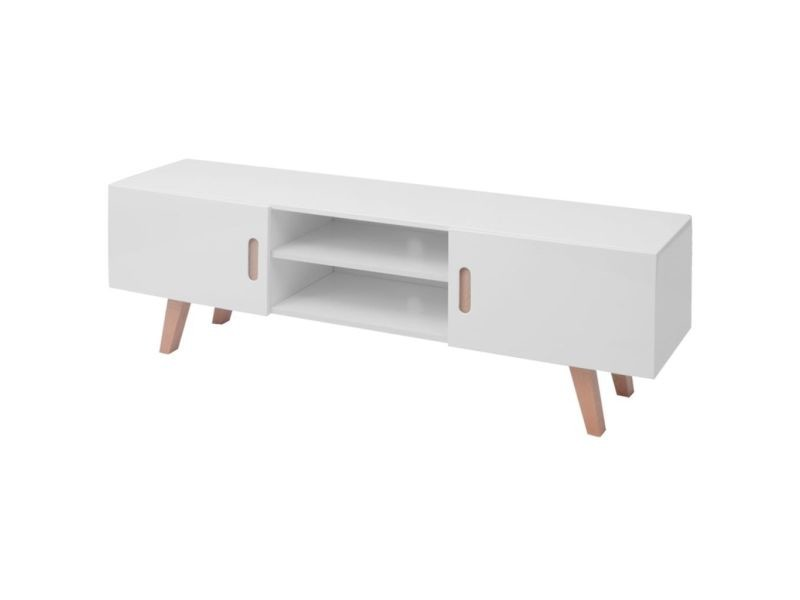 Contemporain meubles ligne bakou support tv à haute brillance 150 x 46,5 x 48,5 cm pfdm blanc