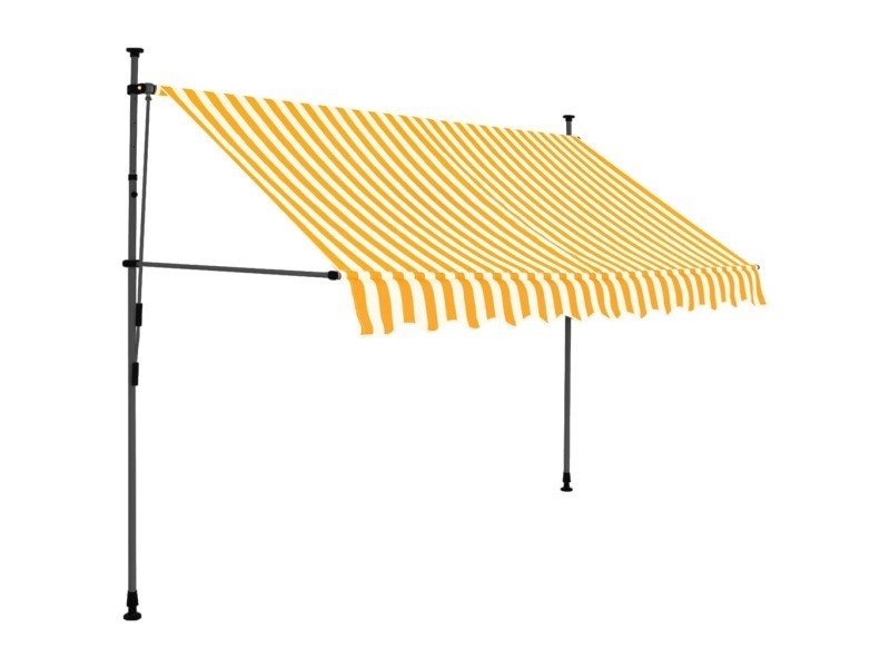 Vidaxl auvent manuel rétractable avec led 300 cm blanc et orange 145859