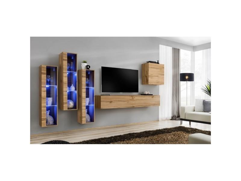 Ensemble meuble salon mural switch xiii design, coloris chêne wotan.