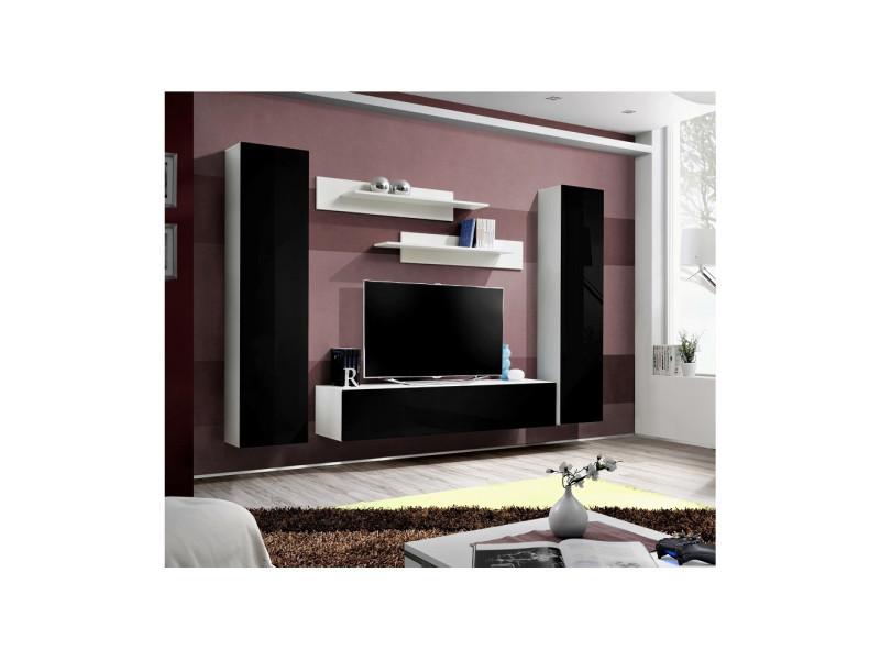 Ensemble meuble tv mural - fly ii - 260 cm x 190 cm x 40 cm - blanc et noir