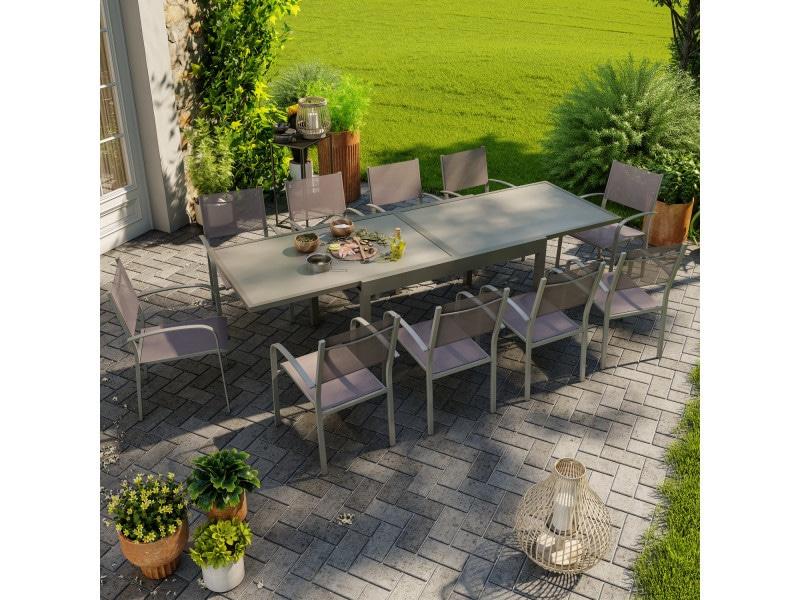 Table de jardin extensible aluminium 270cm + 10 fauteuils empilables textilène gris taupe - lio 10