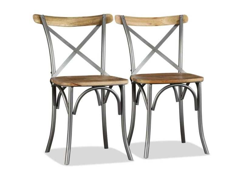 Vidaxl chaise de salle à manger 6 pcs bois de manguier massif et acier 274909