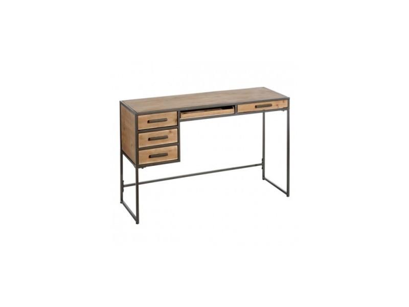Console bois industriel 5 tiroirs 120 cm horu