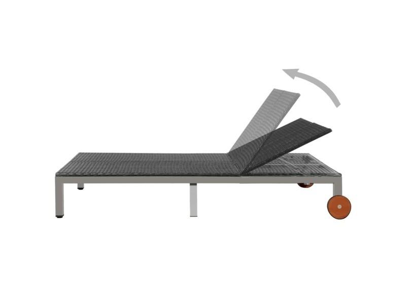Icaverne - bains de soleil gamme chaise longue résine tressée 207 x 130 x 88 cm noir