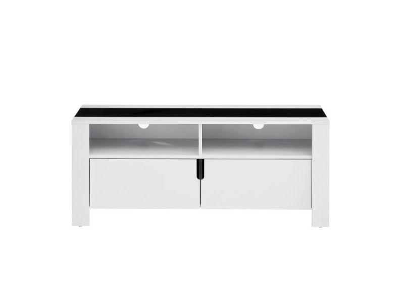 Meuble sous escalier damia meuble tv contemporain blanc et plateau en verre trempé noir - l 120 cm