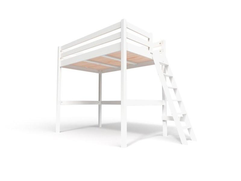 Lit mezzanine sylvia avec échelle bois 120x200 blanc SYLVIA120ECH-LB