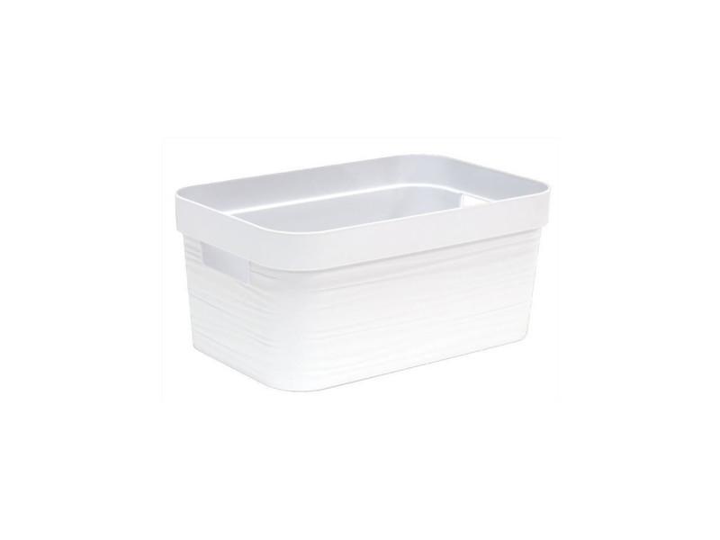 Eda plastique boite de rangement - 6 l - decor stone - dimensions : 29,2 x 18,8 x 13,2 cm - blanc ceruse EDA3086960254537