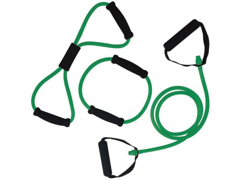 Tunturi set élastiques de musculation tubing moyen avec grip, vert