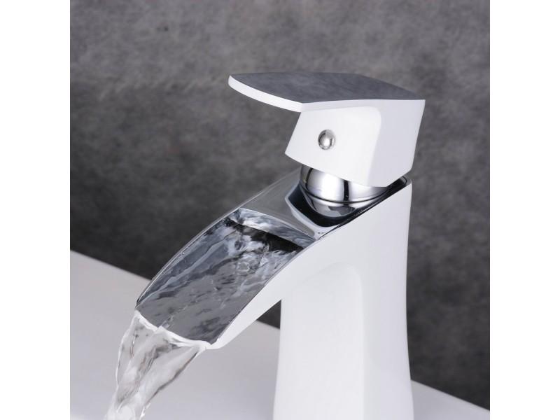 Robinet cascade mitigeur blanc pour lavabo salle de bain ...