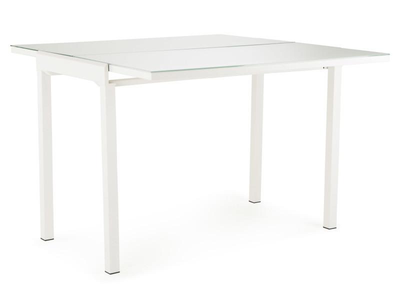 Mathilde table extensible blanc avec plateau en verre trempé
