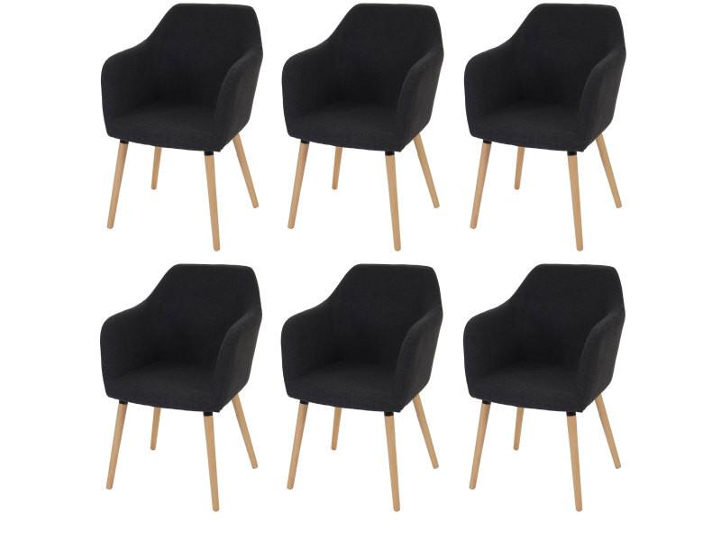 6x chaise de séjour / salle à manger malmö t381, style rétro des années 50 ~ tissu, gris foncé