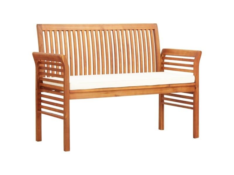 Contemporain sièges de jardin famille accra banc de jardin 2 places avec coussin 120cm bois d'acacia massif
