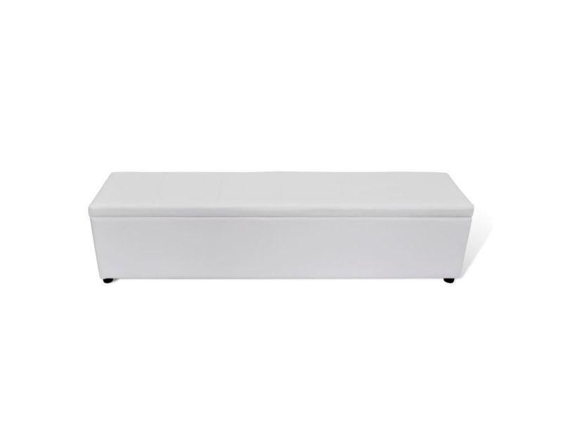 Vidaxl banc banquette coffre de rangement blanc taille large 240482