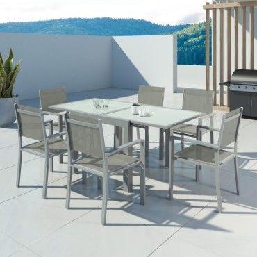 Hara - table de jardin extensible aluminium 90 180cm + 6 fauteuils  textilène argentée - Vente de IMS GARDEN - Conforama 494559c2c969