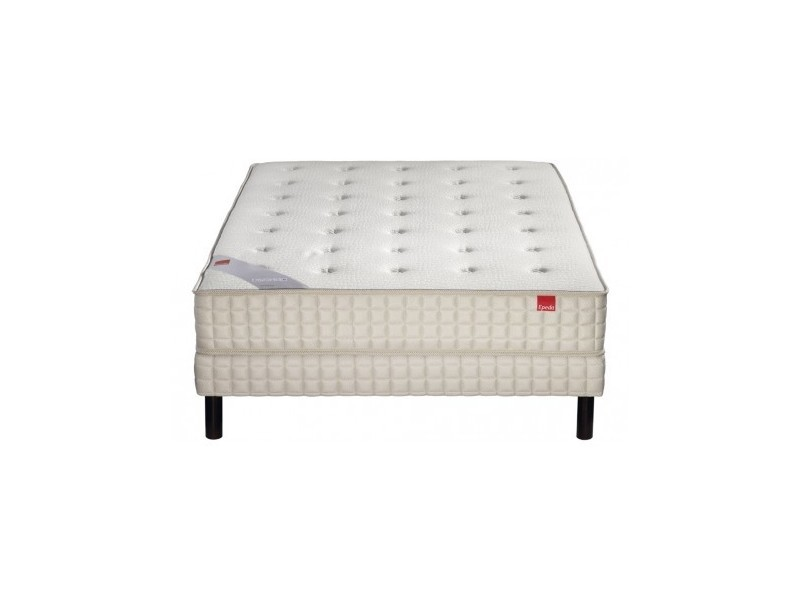 Ensemble epeda orchidee, sommier confort medium et pieds 160x200 ressorts