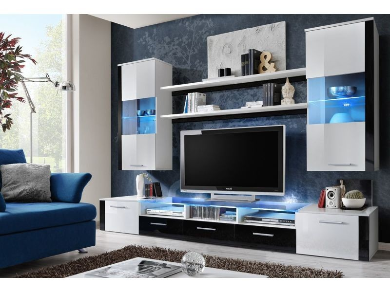 ensemble suspendu led 250 cm avec meuble tv 2 vitrines 2 tag res coloris blanc et noir. Black Bedroom Furniture Sets. Home Design Ideas