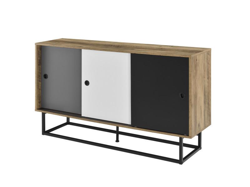 [en.casa] commode meuble tv 6 surfaces de stockage 3 portes mdf armature métal 140cm x 35cm x 80cm noir effet bois blanc gris