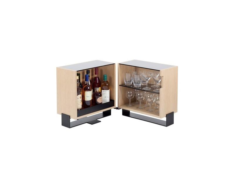 Table basse design métal bois et verre