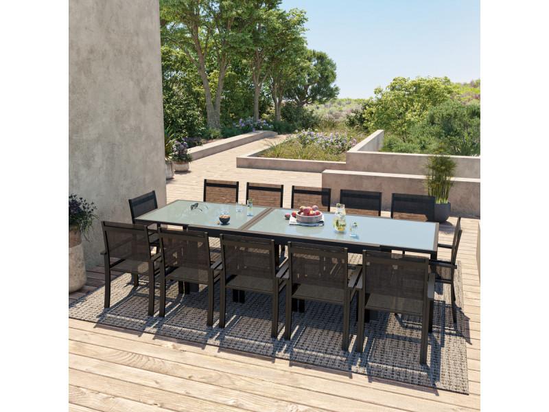 Table de jardin extensible aluminium 200/320cm + 12 fauteuils textilène noir - hara xxl
