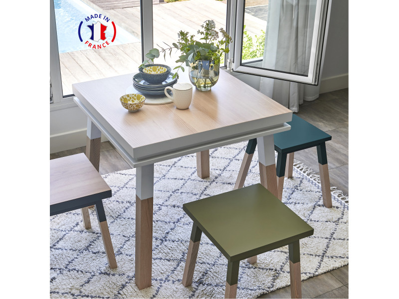 Table cuisine avec tiroir, frêne massif 90x90 cm blanc balisson - 100% fabrication française
