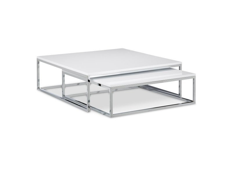 Table Basse Metal Blanc.Lot De Deux Tables Basse Gigogne Metal Et Blanc 80 X 80 Cm
