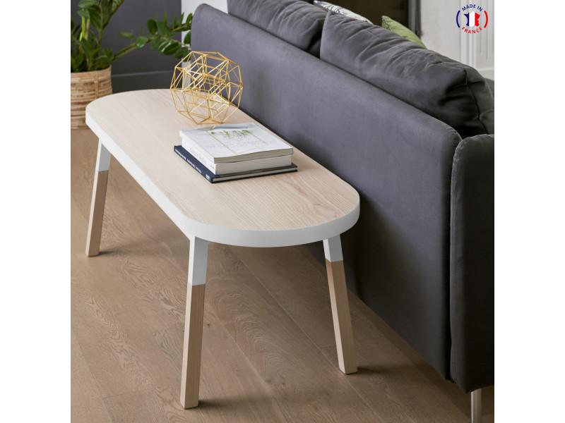 Dos de canapé banc en frêne massif 140x45 cm blanc balisson - 100% fabrication française
