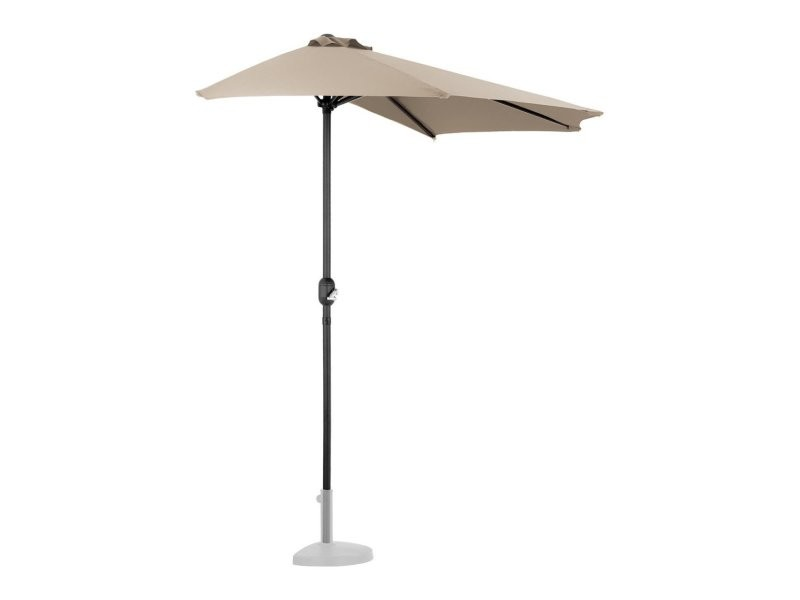 Demi parasol de jardin meuble abri terrasse pentagonal 270 x 135 cm crème helloshop26 14_0001340