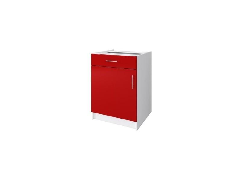 Obi caisson bas de cuisine avec 1 porte, 1 tiroir l 60 cm - blanc et rouge laqué brillant