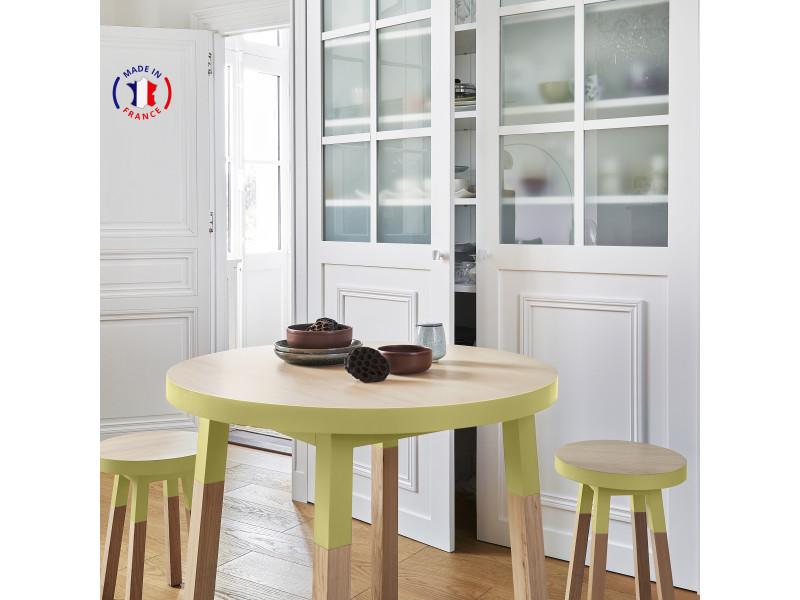 Table ronde 100% frêne massif 90x90 cm jaune lunaire - 100% fabrication française