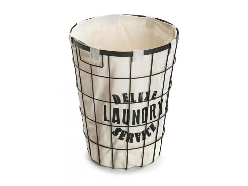 panier linge en m tal noir et int rieur en tissu. Black Bedroom Furniture Sets. Home Design Ideas
