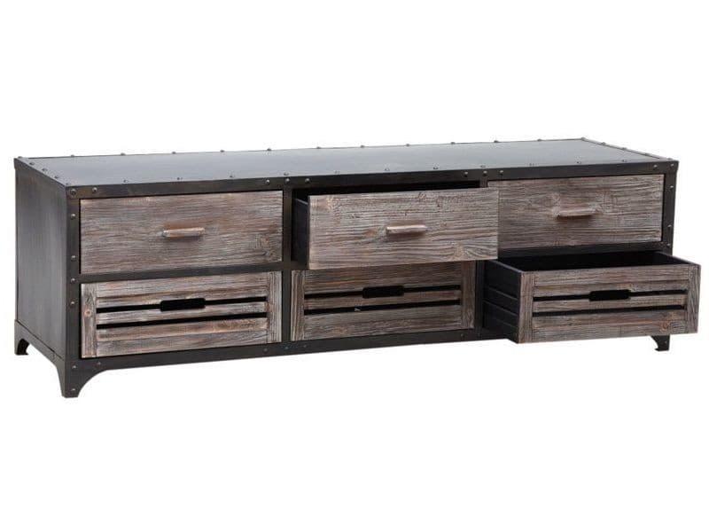 Meuble tv en métal avec tiroirs en bois 160 x 50 x 50 cm