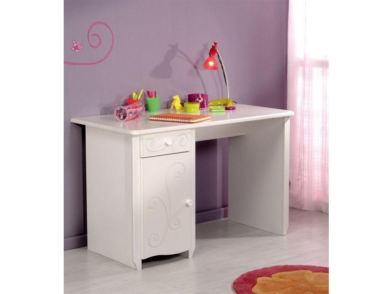 Bureau moderne avec placard et tiroir coloris blanc laqué p