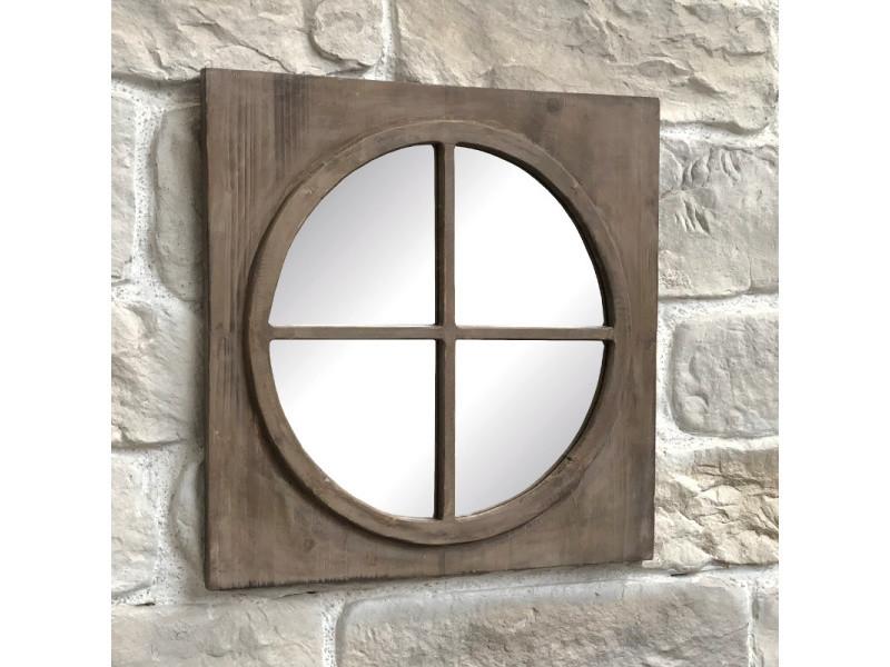 Miroir Fenêtre Carré Glace Ronde œil De Bœuf Bois 55 Cm X 55 Cm