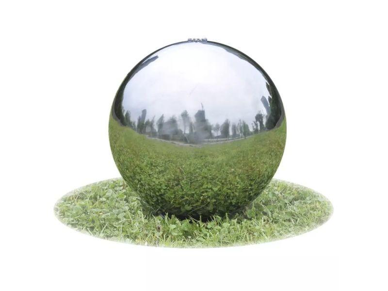Joli fontaines et bassins reference accra fontaine de jardin sphère avec led en acier inoxydable 20 cm