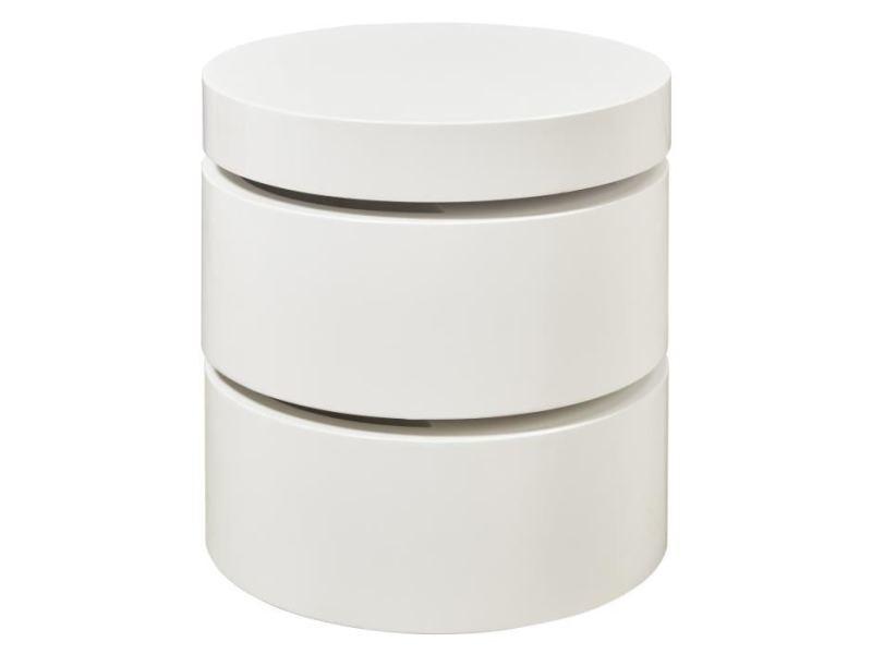 Table basse vigan table basse ronde style contemporain blanc mat - l 50 x l 50 cm