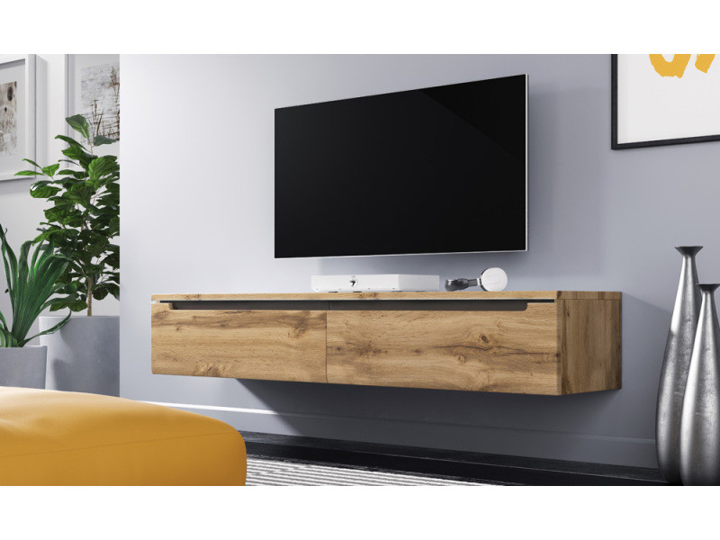 meuble tv meuble de salon swift 140 cm effet ch ne. Black Bedroom Furniture Sets. Home Design Ideas