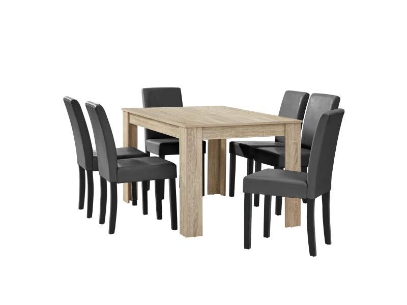 Table à manger chêne avec 6 chaises gris foncé cuir-synthétique rembourré 140x90 cm helloshop26 03_0004049